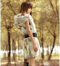 Fur Patternless Casual Waistcoats for Women