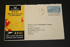 BOAC 1958 FIRST FLIGHT COVER BETWEEN LONDON CARACAS GB , ADDRESS GB FRANKED