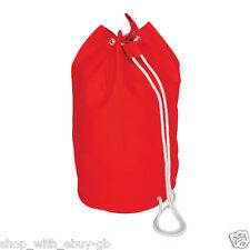 Cotton Drawstring Beach Sailor Style Bag Shoulder Rucksack Duffel Swim Gym UK Red