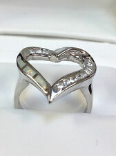 White Fire Opal Inlay and cz Heart Ring Sterling Silver 925, size 6-7-8