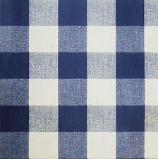 "Navy Blue White PVC Tablecloth 1"" Gingham Fabric (Per Metre)"