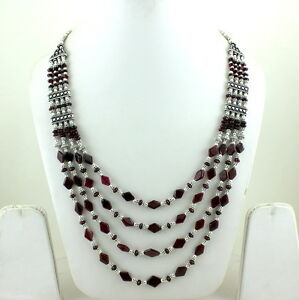 Gemstone necklace natural garnet gemstone semi preious stone beads jewelry