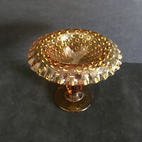 Fenton Hobnail Colonial Rolled Edge Amber Footed Dish 5 1/4""