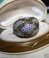 Ross Simons Sterling silver 925 pave cz cluster clear/Green wide dome ring
