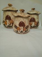 Arnel's Mushroom Canisters Set Of 3 Vintage 1970s Brown *RARE*