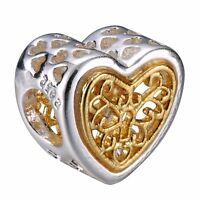 Openwork Heart-shaped 925 Silver Charms Bead Fit Sterling Bracelets Necklace