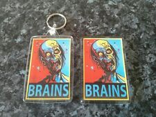 Brains Keyring and Magnet Set. Zombie, Pop Art, Horror, Gore. NEW