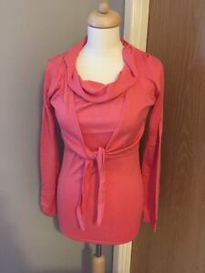 NEW WOMAN'S CORAL TWIN SET THIN KNIT TOP CROPPED CARDIGAN SIZE 10-12 14-16 18-20