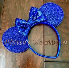 Minnie Mouse Ears Headband Sparkly Shiny Royal Blue Big Sequin Bow Cute Party