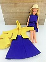1958 MATTEL BARBIE Doll Made in Korea Blonde Hair Blue Eyes w Outfits Vintage