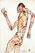 The Dancer A1 by Egon Schiele High Quality Canvas Art Print