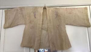 Rare Authentic Vintage Embroidered Japanese Cream Silk Haori Kimono Jacket