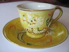 Vintage Yellow Moriage Morimura? Dragonware Teacup Hand Painted Made In Japan