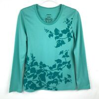 Patagonia Women's Leaf Vine Print Long Sleeve T-Shirt Teal Green Small S