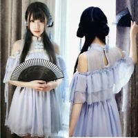 Lady Lolita Dress Chinese Retro Falbala Lace Ruffle Skirts Short Sheer Kawaii