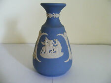 "Wedgwood   Blue  Jasper Classical  Decorated  Small  Vase  Height  4.3/4"" Inches"