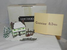 """Currier & Ives """"American Homestead Winter"""" Porcelain Cottage No. 78281 With Coa"""