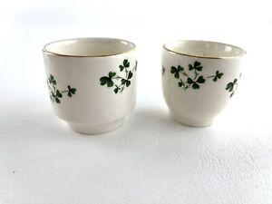 Carrigaline Pottery Ireland Irish Shamrock Small Shot Glass Ceramic Cup Set Of 2