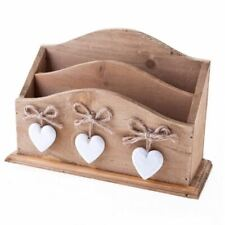 ASHLEY FARMHOUSE WOODEN LETTER RACK WITH WHITE HEARTS