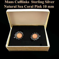 Vintages Men's Cufflinks Sterling Silver Natural Sea Coral Pink Handmade 10 mm