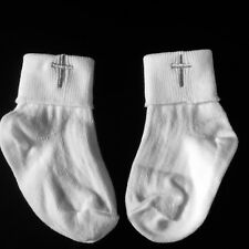 BABY BOY OR GIRLS WHITE CHRISTENING SOCKS OR BIBS WITH EMBROIDERED CROSS EMBLEM