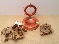 Maritime Brass Sundial Compass Built In Nautical + Brass Sextant + Ashtray