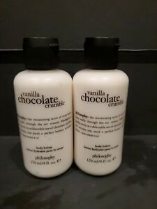 2 PACK Philosophy Vanilla Chocolate Crumble Body Lotion 4 oz. NEW