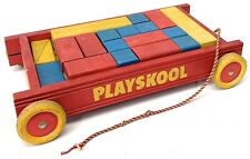 Vintage 1950's Playskool Pull Wagon Red with Colored Blocks