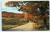 Greetings from Kinmount Ontario Canada Rural Country Road Vintage Postcard A92