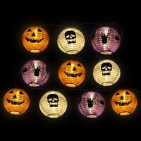 10 LED Pumpkin Lights Lantern Outdoor Hanging String Light Props Halloween Decor