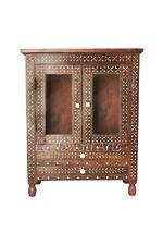 Bone Inlay Floral Design Brown 2 Drawer 2 Glass Door Bedside Table Nightstand