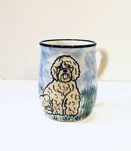 Karen Donleavy KD Handpainted Dog Mug Shaggy Sheepdog Dog EUC