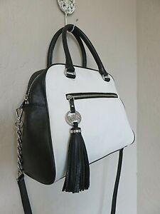 Michael Kors Black White Leather Tote Bag Tassel Crossbody Handbag