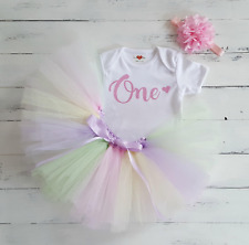 Disfraz Tutú De Bebé 1st Rosa Cumpleaños Chicas Bebé un Chaleco Set Foto Prop Pastel Smash