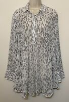 NWT Lane BryAnt 18/20 Blouse White & Silver Feathers Long Sleeve Collared Tunic