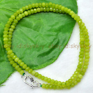 2x4mm Natural Light Peridot Faceted Roundel Gems Beads Necklace Silver Clasp