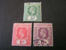 GILBERT & ELLICE iS. SCOTT # 14/15(2)+21,1912-24 KGV DEFINITIVE ISSUE USED