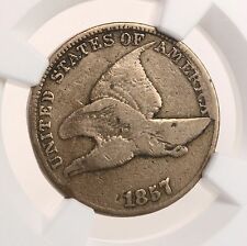 1857 Flying Eagle 1C Clashed With 50C Mint Error NGC Certified Fine Details