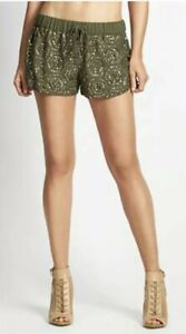 New Guess Summer Tile Pattern Sequin Embellished Fern Drawstring Shorts XS S M