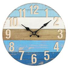 Nautical Blue Rustic Shabby Chic Vintage Style 34cm Large Wall Clock