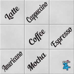 Coffee Words Vinyl Wall Tile Transfers Stickers Decals Kitchen Home Decor
