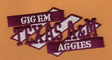 TEXAS A&M 4 1/4 INCH STITCHED GIG EM AGGIES PATCH UNSOLD STOCK BURGUNDY & WHITE