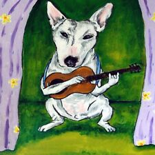 Bull terrier playing guitar dog art tile coaster gift gifts