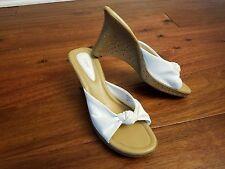 Fioni Women's White Tie Wedges Slides Open Toe Sandals Heels Shoes 9.5