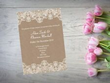 Personalised Handmade Wedding Day or Evening Invitation x 50 Lace WI51