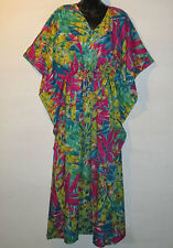 Dress Fits L XL 1X 2X Plus Green Pink Caftan Drawstring Gold Glitter Batwing 68