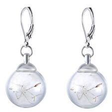 1 Pair Women Real Dandelion Seeds Wishing Bottle Glass Vial Dangle Hoop Earrings