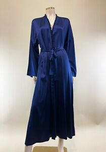 La Perla Navy Silk Belted Robe - UK 16