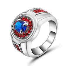 Size 8 Blue Sapphire&red Engagement Ring 10KT White Gold Filled Men/Womens Gift