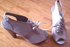 Unique ALDO open toe lace up sling chunky high heel gray tan shoes sandals 39 9